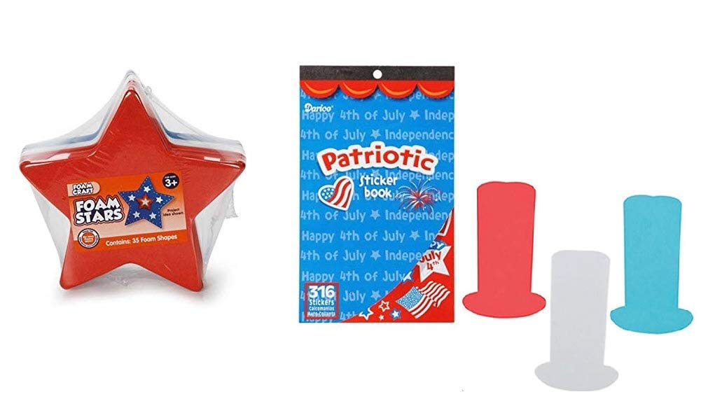 35 Shapes LBGifts 316 Stickers and Foam Stovetop Hats FOAMIES Patriotic Foam Star Bases 25 Shapes and Patriotic Sticker Book