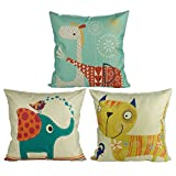 Luxbon Set of 3 pcs Lovely Animal Cushion Cover 45cmx45cm Elephant Cat Giraffe Cotton Linen Throw Pillow Case Scatter Pillows Children Window Seat Cushions Case 18x18 for Kid's Room Home Decor