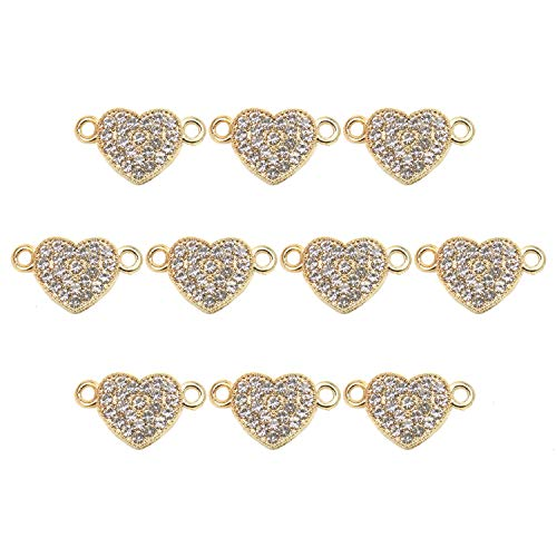 JETEHO 20 Pieces Heart Rhinestone Jewelry Connectors Heart Charm Connectors for DIY Bracelet Necklace Jewelry Findings, 19x11mm ()