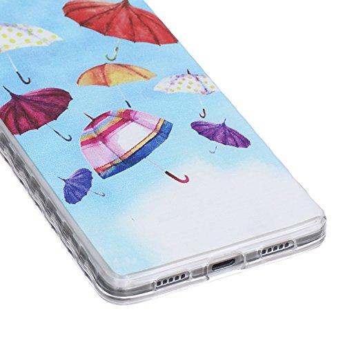 [Extremadamente Delgada] Funda 3D Silicona Transparent para Huawei P8 Lite ,Funda TPU Ultra Slim para Huawei P8 Lite , TOCASO Case Fina Slim Fit Cristal Clear, Transparent Slicona Clear Cover Glitteri Paraguas