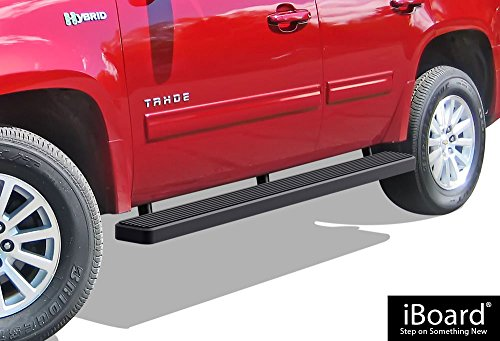 (APS iBoard Running Boards (Nerf Bars | Side Steps | Step Bars) for 2000-2019 Chevy Tahoe & GMC Yukon 4Dr (Excl. Z71&Denali) & 01-17 Cadillac Escalade (Excl. ESV/EXT) | (Black Powder Coated 6 inches))