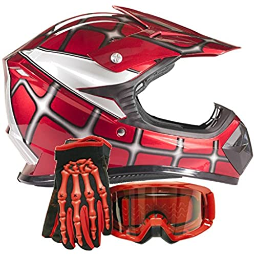 Youth Kids Offroad Gear Combo Helmet Gloves Goggles DOT Motocross ATV Dirt Bike MX Spiderman Red, Large