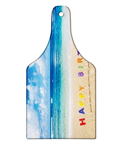 Ambesonne Birthday Cutting Board, Happy Birthday Sign on the Tropical Beach in Hawaii Exotic Sweet Surprise Theme, Decorative Tempered Glass Cutting and Serving Board, Wine Bottle Shape, Multicolor by Ambesonne