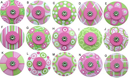 Colorful Hand Painted Decorative Pink & Apple Green Abstract Geometric Drawer Knobs Pulls Choose Your Designs (SINGLE KNOB)