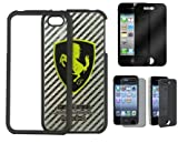 Detachable Ferrari Carbon Fiber Metal Hard Case for iPhone 4 4S + Privacy Screen Protector