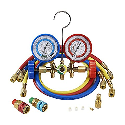Orion Motor Tech 3FT AC Diagnostic Manifold Freon Gauge Set for R134A R12, R22, R502 Refrigerants, with Couplers and ACME (Hvac Hose Quick Connect)