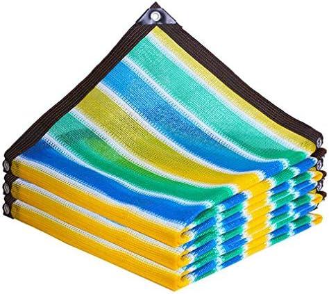 HUYYA 90%日焼け止め シェード 布 ネット、シェーディングネット ミシン目付き 遮光日よけネット 強化エッジ オーニングシェード 角補強 テラス用,Stripe_2x8m/6x24ft
