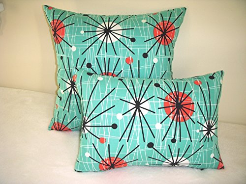 1950 Pillow Cover Reproduction Eames Era Mid Century Starburst Turquoise Orange White Orbs Black Spokes