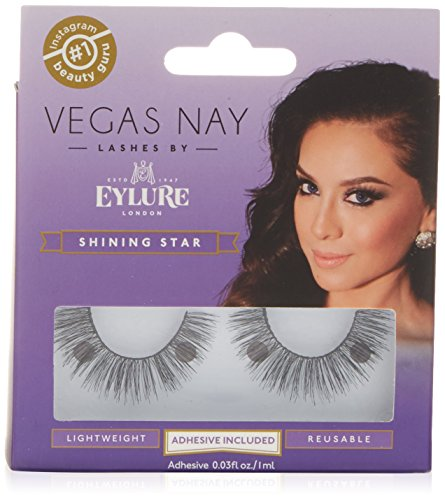 Eylure Vegas Nay Shining Star Fake Eyelashes, Adhesive Included, Reusable, 1 Pair