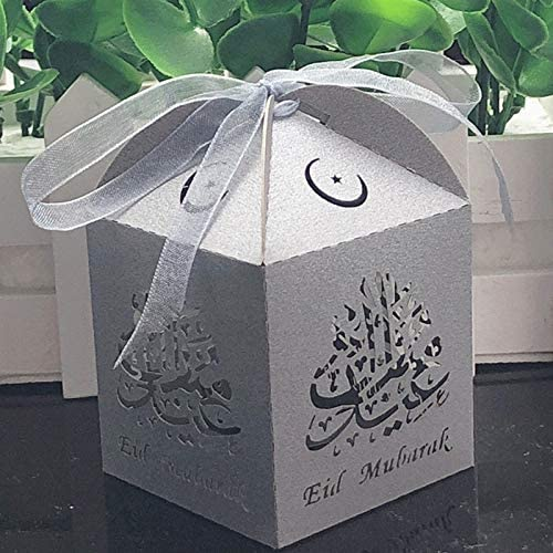 Big Dot of Happiness Ramadan Set of 12 Eid Mubarak Party Bow Boxes Square Favor Gift Boxes