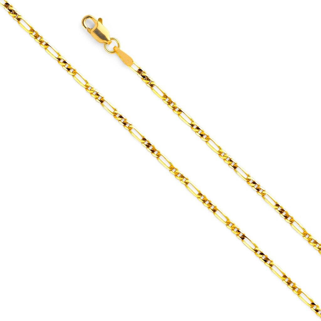 Wellingsale 14k Yellow Gold SOLID 2mm Polished Figaro Chain Necklace with Lobster Claw Clasp - 16''
