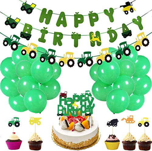 50 Pieces Farm Tractor Theme Party Decorations include Tractor Happy Birthday Banner Tractor Garland Cupcake Toppers Balloons Green Tractor Construction Party Supplies and Favors for Girls Boys Kids 1st 2nd 3rd 4th Birthday Decoration -