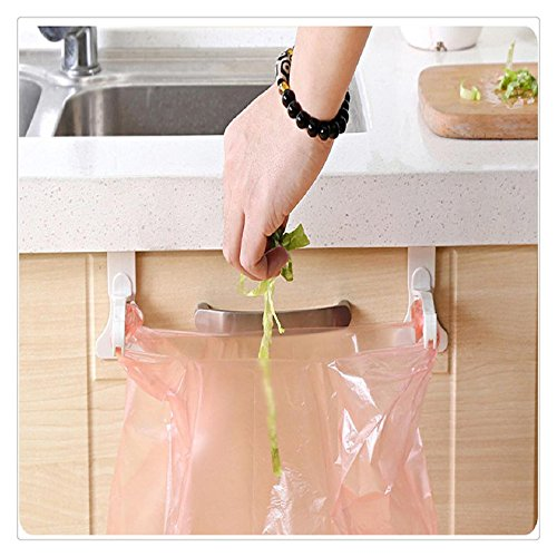 Garbage Bags Rack,FTXJ 1Pair Kitchen Door Cabinet Hook Rack Trash Bags Storage Hanging Rack (Garbage Can Clips)