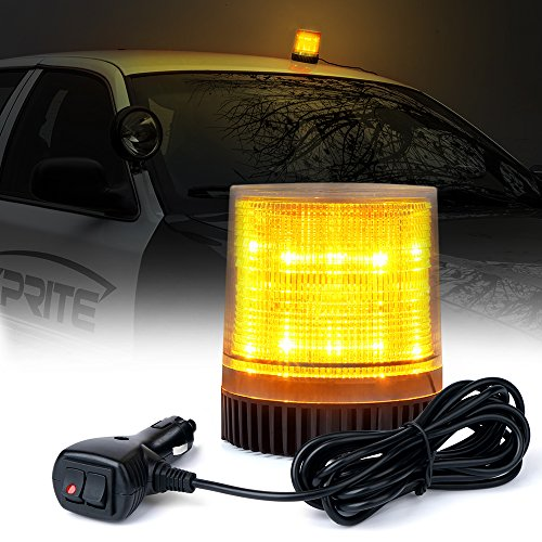 Xprite Amber/Yellow Rotating Revolving LED Beacon Strobe Light, with Magnetic Mount, 12LEDs Emergency Warning Caution Flashing Light for Snow Plow Truck UTV 12v Vehicle
