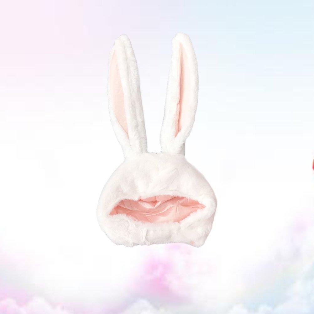 Amosfun Rabbit Headwear Cartoon Animal Hat Movable Ear Plush Cute Hat for Women Girls (White) by Amosfun (Image #2)