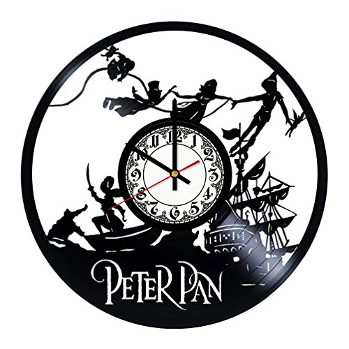 Peter Pan Handmade Vinyl Record Wall Clock - Get unique room wall decor - Gift ideas for his and her – Modern Unique Home Art Design