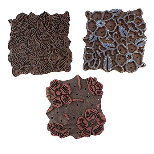 IndianShelf Handmade Set of 3 Piece Brown Wooden Stamp Paper Printing Textile Canvas Fabric Block by Indian Shelf