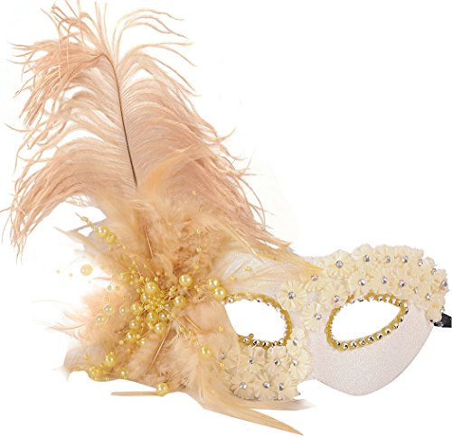 Gold Feather Masquerade Masks Venetian Halloween Party Costumes