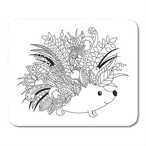 Emvency Mouse Pads Black Outlined Doodle Anti Stress Coloring Book Page Cute Mouse Pad for notebooks, Desktop Computers mats 16
