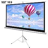 100'' INSTAHIBIT Manual 16:9 Floor Stand Presenter Movie Projector Screen w/ Tripod - WHITE