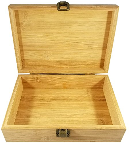 Bamboo Wood Hinged Cigar Storage Stash Box -8.5 x 6 x 2.5 Inches (Bear) by Stash & Stuff (Image #2)