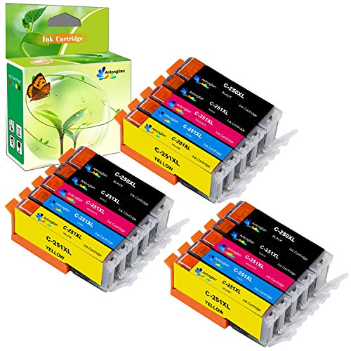 (Antonglian Compatible Ink Cartridge Replacement for Compatible Canon 250 and 251,PGI 250XL CLI 251XL,Work for PIXMA MX922 MG5520(3PGBK 3BK 3C 3M 3Y) 15 Pack)