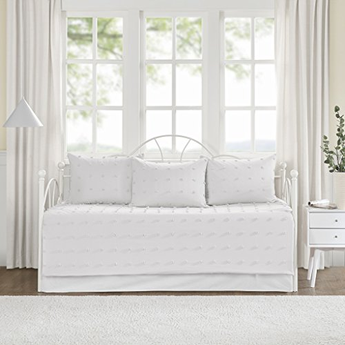 Urban Habitat Brooklyn Daybed Cover Quilted Reverse 100% Cotton Jacquard Tufted Chenille Dots Sensory Textured Soft Down Alternative Hypoallergenic All Season Coverlet Bedding-Set, Ivory