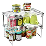 '2 Pack - DecoBros Stackable Kitchen Cabinet Organizer, Chrome' from the web at 'https://images-na.ssl-images-amazon.com/images/I/51uqH8nhTnL._AC_SR150,150_.jpg'