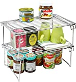 Kitchen Cabinet Organizer 2 Pack - DecoBros Stackable Kitchen Cabinet Organizer, Chrome