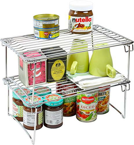 Helper Shelf Cabinet Organizer - 2 Pack - DecoBros Stackable Kitchen Cabinet Organizer, Chrome