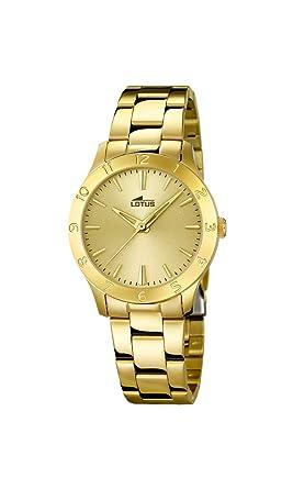 Lotus 18140/2 - Reloj de cuarzo para mujer, con correa de acero inoxidable, color dorado: Amazon.es: Relojes