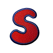 Embroidered Iron On Patch Alphabet/Letter red - complete Alphabet available , Alphabet/Buchstabe:Buchstabe S - 6.2x4.9cm