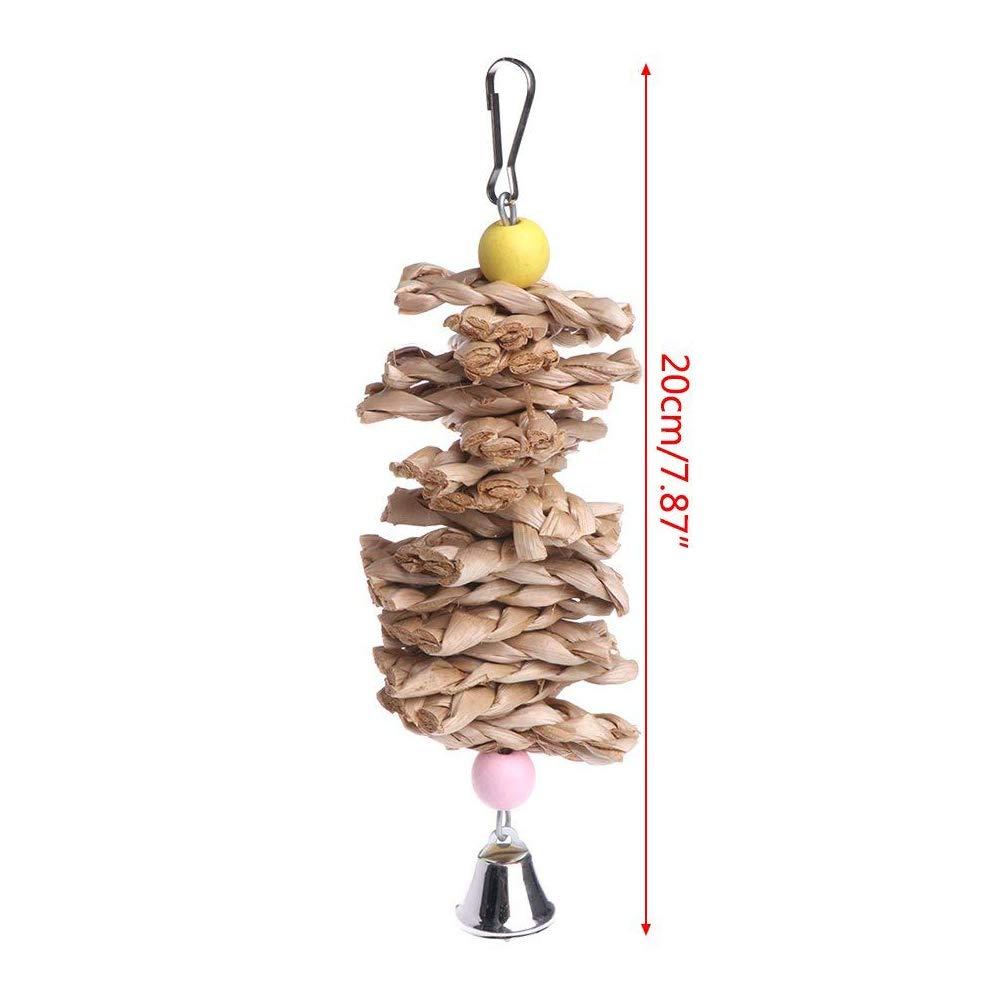 MOMEY Pet Bird mâcher Jouet Perroquet Perruche morsures de Paille Boule de Cloche Cage Jouets ronger Jouet