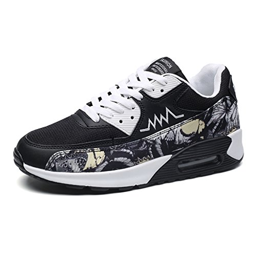 LFEU Sneakers Chaussure Homme Basket Sport Running Basket Textile Chaussure Velcro Antichoc Sneakers Loisir Endurance 39-44 noir blanc
