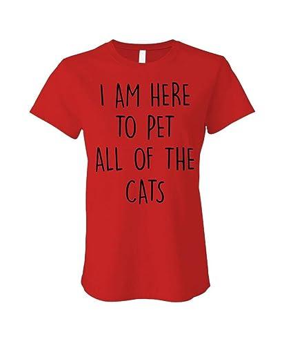 c4b5d1475 I'm HERE to PET All The Cats - Kittens Hug - Ladies Cotton T-Shirt at  Amazon Women's Clothing store: