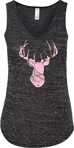 Buy-Cool-Shirts-Ladies-Mossy-Oak-Pink-Camo-Deer-Flowy-V-neck-Tank-Top