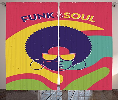 Ambesonne Vintage Decor Curtains, Groovy Funk and Soul Event Flyer Print with a Cool Disco Party Music Vinyl Records, Living Room Bedroom Window Drapes 2 Panel Set, 108W X 90L Inches, Multi