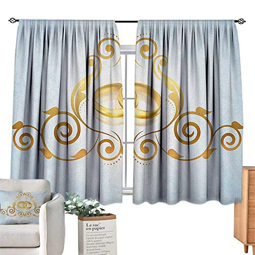 WeddingSolid Rod Pocket short Blackout DrapesVintage Style Victorian Ornaments on Blue Backdrop Rings Classical CelebrationThermal Insulated Grommet Blackout Curtains for Bedroom Pale Blue Gold. W72