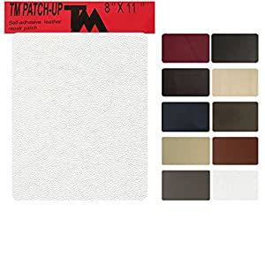 TMgroup , leather couch patch, genuine faux leather repair patch , peel and stick for couch , sofas , car seats , hand bags ,furniture, jackets , large size 8-inch x 11-inch (Off White)
