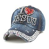 Raylans Adjustable Women Men Bling Rhinestone I Love Jesus Denim Baseball Cap,5#