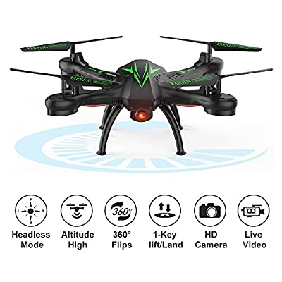 Beebeerun WiFi FPV Quadcopter Drone with Camera Live Video 2.4GHz Headless Mode Altitude Hold One-Key Function VR Headset-Compatible Gravity Induction Damage Resistance