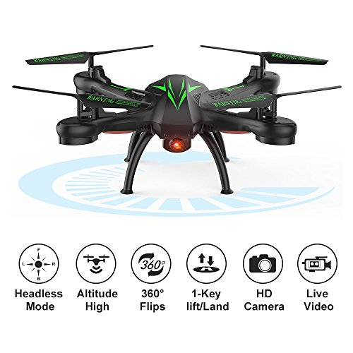 K200 FPV RC Drones with Camera Live Video 720P HD Wi-Fi 4 Channel 2.4GHz 6-Axis Gyro Quadcopter for Beginners Kids Adults- Altitude Hold, One Key Start, Headless Mode, 3D Flips (Black)