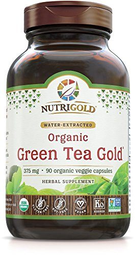 NutriGold Green Tea Gold - Metabolism, Weight-Loss, and Immune Support - 375 mg (90 organic veggie (Immune Support Green Tea)