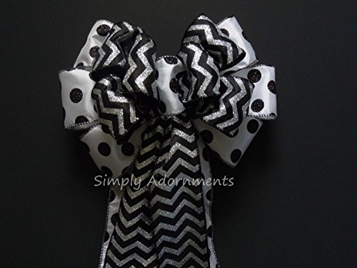 Black White Wedding Pew Bow Halloween Wreath Bow Wedding Church Aisle Pew Bow Wedding Chair Bow