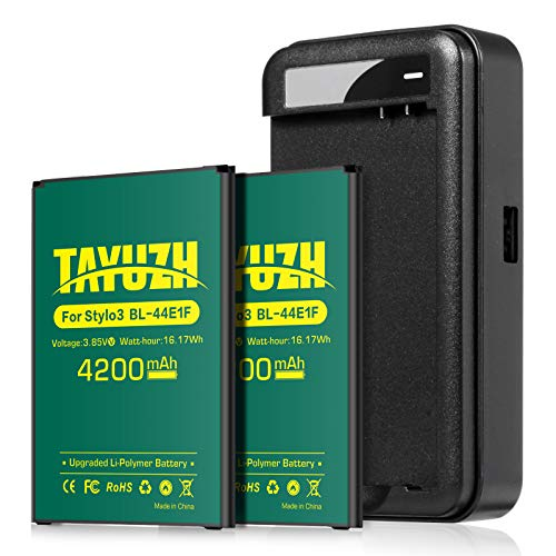 LG Stylo 3 Battery, TAYUZH Upgraded 2X 4200mAh Li-Polymer Replacement BL-44E1F Battery with Charger for LG Stylo 3, LG Stylo 3 Plus Cell Phone | LG Stylo 3 Spare Battery [24 Month Warranty]
