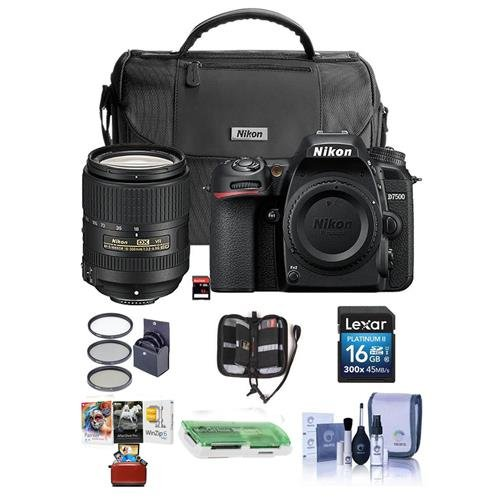 Nikon D7500 DSLR with AF-S DX NIKKOR 18-300mm f/3.5-6.3G ED VR Lens - Bundle with Faux Leather Bag, 32GB SD Card, 16GB SDHC Card, Cleaning Kit, Card Reader, 67mm Filter Kit, Mac Software Pack and More