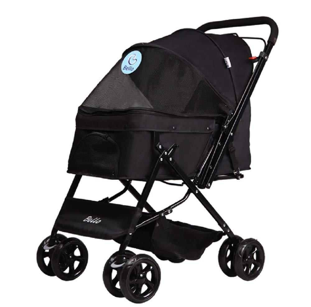 Black GDDYQ Pet Stroller, Four-Wheeled Trolley Cat and Dog Cart Shockproof and Durable Adjustable Direction, Easy to Fold, Quick Inssizetion, Suitable for Travel,Black