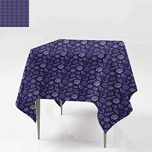 Washable Tablecloth Navy Blue Underwater Ocean Wildlife Inspired Design with Hand Drawn Style Sea Shells Royal Blue White Table Decoration W54 xL63