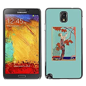 FECELL CITY // Duro Aluminio Pegatina PC Caso decorativo Funda Carcasa de Protección para Samsung Note 3 N9000 N9002 N9005 // Man Tree Autumn Fall Brown Teal