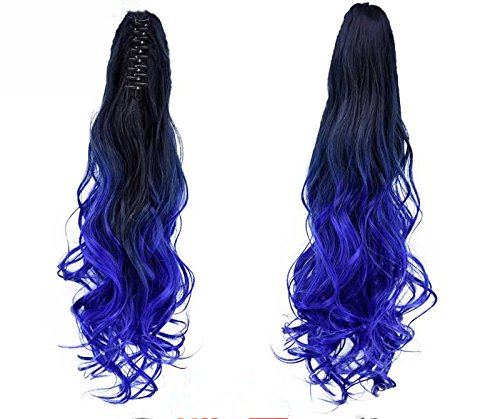 "22"" Long wavy Claw in/on Ponytail Ombre Color Two Tones Clip in Hair Extensions Hairpieces (BlackTBlue) PREO"